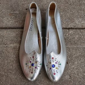 Vintage Silver Bedazzled Gemstone Loafers Flats 7